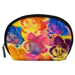 Pop Art Roses Accessory Pouches (large)  by DanaeStudio
