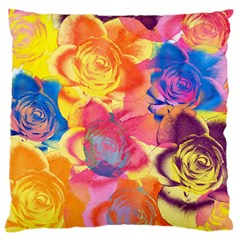 Pop Art Roses Large Flano Cushion Case (two Sides) by DanaeStudio