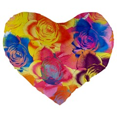 Pop Art Roses Large 19  Premium Flano Heart Shape Cushions by DanaeStudio