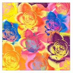Pop Art Roses Large Satin Scarf (square) by DanaeStudio