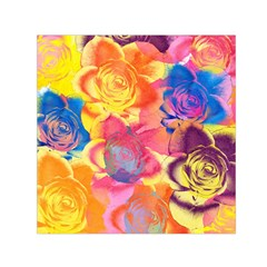 Pop Art Roses Small Satin Scarf (square)  by DanaeStudio
