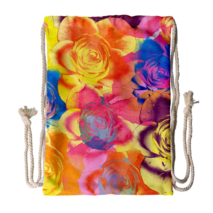 Pop Art Roses Drawstring Bag (Large)