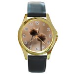 2  Verwelkte Kugeldistel Round Gold Metal Watch