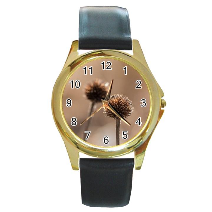 2  Verwelkte Kugeldistel Round Gold Metal Watch