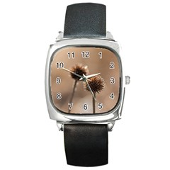 2  Verwelkte Kugeldistel Square Metal Watch