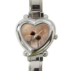 2  Verwelkte Kugeldistel Heart Italian Charm Watch