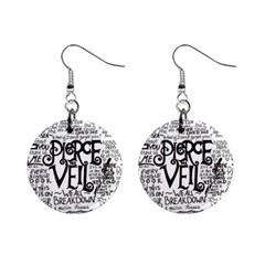 Pierce The Veil Music Band Group Fabric Art Cloth Poster Mini Button Earrings by Onesevenart