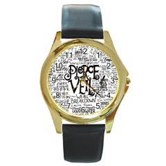 Pierce The Veil Music Band Group Fabric Art Cloth Poster Round Gold Metal Watch by Onesevenart
