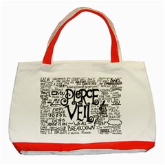 Pierce The Veil Music Band Group Fabric Art Cloth Poster Classic Tote Bag (red) by Onesevenart