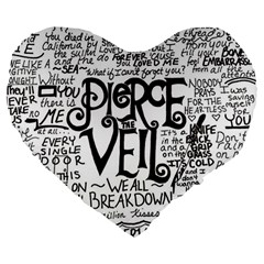 Pierce The Veil Music Band Group Fabric Art Cloth Poster Large 19  Premium Heart Shape Cushions by Onesevenart