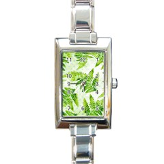Fern Leaves Rectangle Italian Charm Watch