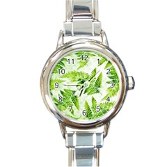 Fern Leaves Round Italian Charm Watch