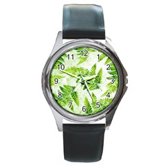 Fern Leaves Round Metal Watch by DanaeStudio