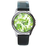 Fern Leaves Round Metal Watch Front