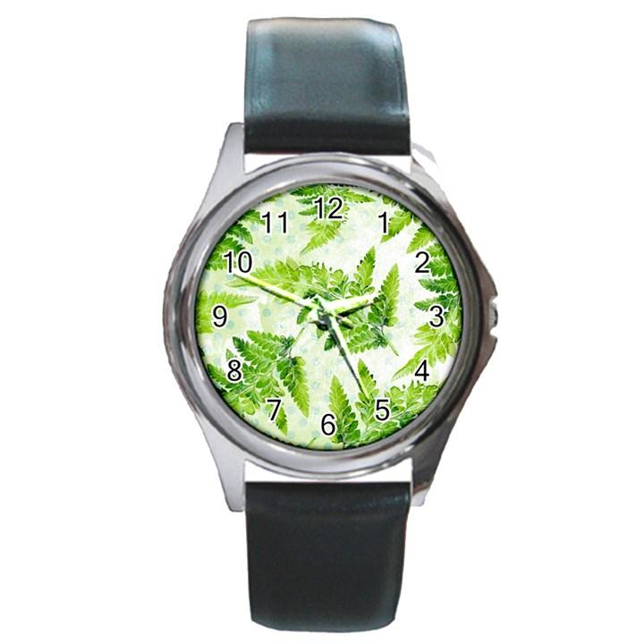 Fern Leaves Round Metal Watch