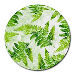 Fern Leaves Round Mousepads by DanaeStudio