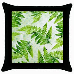 Fern Leaves Throw Pillow Case (Black)