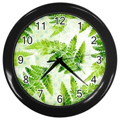 Fern Leaves Wall Clocks (black) by DanaeStudio