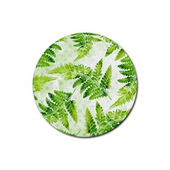 Fern Leaves Rubber Round Coaster (4 Pack)  by DanaeStudio