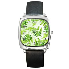 Fern Leaves Square Metal Watch by DanaeStudio