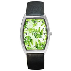 Fern Leaves Barrel Style Metal Watch