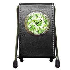 Fern Leaves Pen Holder Desk Clocks