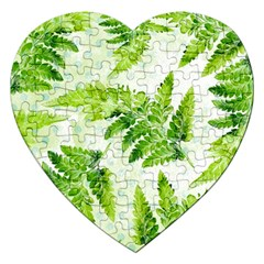 Fern Leaves Jigsaw Puzzle (heart) by DanaeStudio