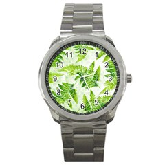 Fern Leaves Sport Metal Watch