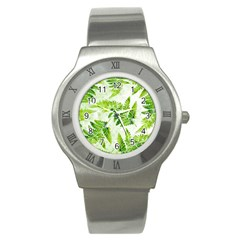 Fern Leaves Stainless Steel Watch
