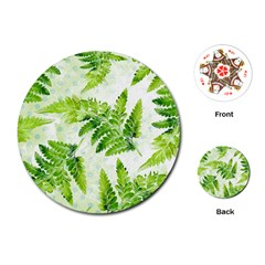 Fern Leaves Playing Cards (Round)