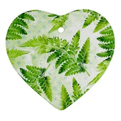 Fern Leaves Heart Ornament (2 Sides)