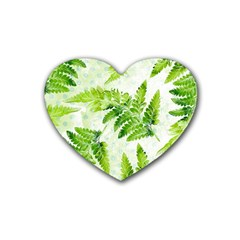 Fern Leaves Rubber Coaster (heart)  by DanaeStudio