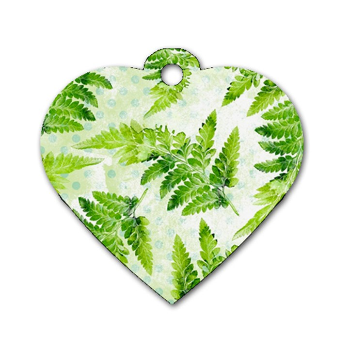 Fern Leaves Dog Tag Heart (One Side)