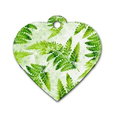Fern Leaves Dog Tag Heart (two Sides) by DanaeStudio