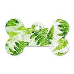 Fern Leaves Dog Tag Bone (Two Sides)
