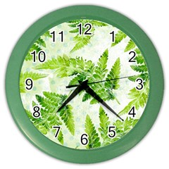 Fern Leaves Color Wall Clocks by DanaeStudio