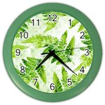 Fern Leaves Color Wall Clocks
