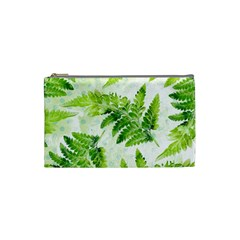 Fern Leaves Cosmetic Bag (small)  by DanaeStudio