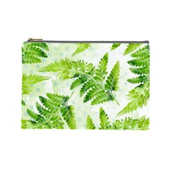 Fern Leaves Cosmetic Bag (large)  by DanaeStudio