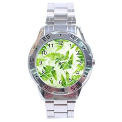 Fern Leaves Stainless Steel Analogue Watch by DanaeStudio