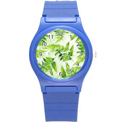 Fern Leaves Round Plastic Sport Watch (s) by DanaeStudio