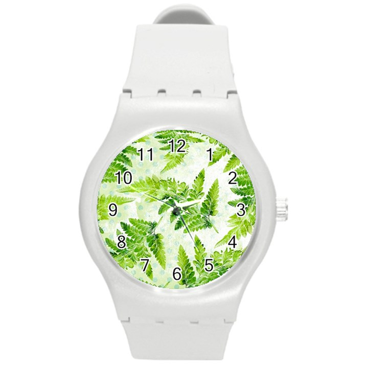 Fern Leaves Round Plastic Sport Watch (M)