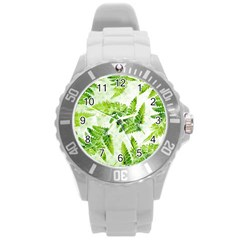 Fern Leaves Round Plastic Sport Watch (l)