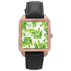 Fern Leaves Rose Gold Leather Watch  by DanaeStudio