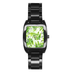 Fern Leaves Stainless Steel Barrel Watch