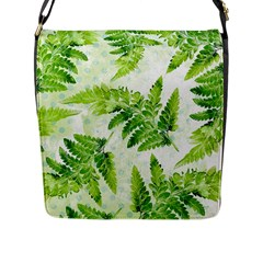 Fern Leaves Flap Messenger Bag (L)