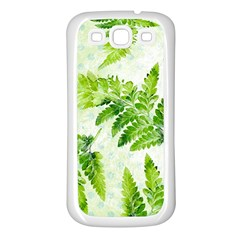 Fern Leaves Samsung Galaxy S3 Back Case (white) by DanaeStudio