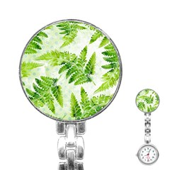 Fern Leaves Stainless Steel Nurses Watch by DanaeStudio