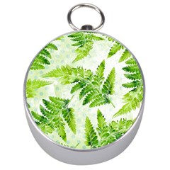 Fern Leaves Silver Compasses