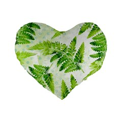 Fern Leaves Standard 16  Premium Flano Heart Shape Cushions